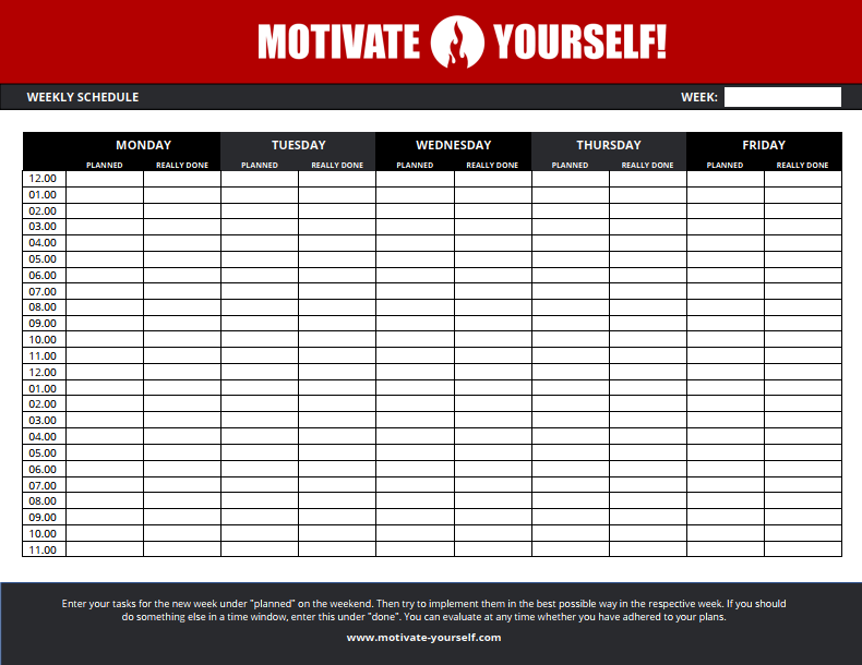 Download the free weeky schedule template